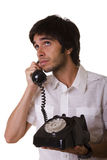 Talking on the telephone Stock Image