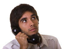 Talking on the telephone Stock Images