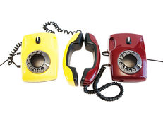 Talking by telephones Stock Photo