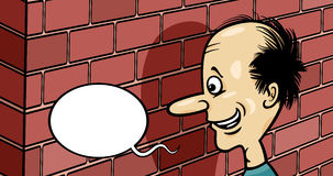 Talking to a brick wall cartoon Stock Photos