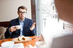 Talking to colleague Royalty Free Stock Photo