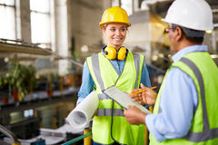 Talking to foreman Stock Images