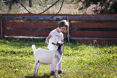 Talking to goat Royalty Free Stock Photography