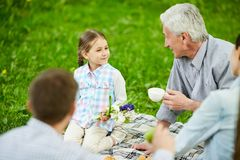 Talking to grandfather Royalty Free Stock Photo