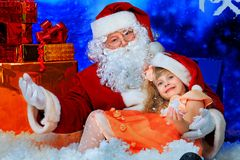 Talking to santa Stock Photo