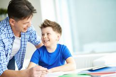 Talking to son Royalty Free Stock Image