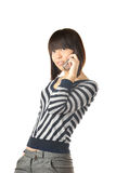 Talking via cell phone Royalty Free Stock Photography