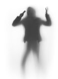 Talking woman silhouette, and cellular phone. Angry woman talks by phone behind a curtain Stock Photos
