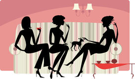Talking women. Vector silhouettes of three ladies talking and drinking coffee Stock Photography
