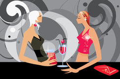 Talking women. Vector image of two talking women in bar Royalty Free Stock Photos