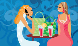 Talking women. Vector image of two talking women in cafe Stock Photos