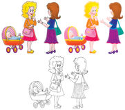 Talking women wit a baby buggy. Two young women with a baby buggy having a chat about all kinds of things Royalty Free Stock Photo