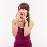 Talking young Asian woman Royalty Free Stock Photos