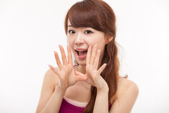 Talking young Asian woman Stock Images