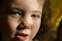 Talks. Portrait of a talking child - close up Stock Photos