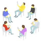 Talks. Group of business. Five people team meeting conference Royalty Free Stock Photography