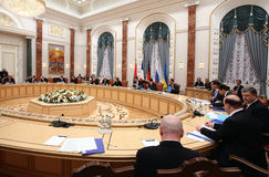 Talks of the leaders of states in the Norman format in Minsk Stock Photos