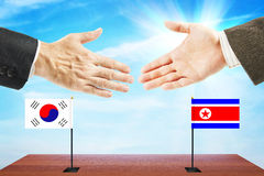 Talks between North and South Korea. Peace talks between North and South Korea Royalty Free Stock Image