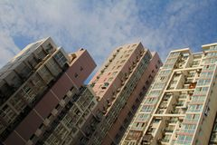 Tall apartment buildings Stock Photo