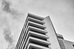 Tall Apartment buildings at Olympic Park, Sydney, Australia. Commercial suites in a new apartment block. Looking up at modern high-rise apartment houses. Black Royalty Free Stock Photos
