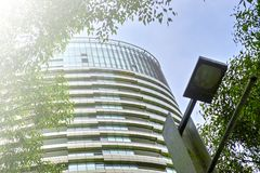 Tall Apartment Buildings at Olympic Park, Sydney, Australia. Commercial suites in new apartment blocks. Looking up at a modern high-rise apartment houses Royalty Free Stock Image