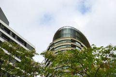 Tall Apartment Buildings at Olympic Park, Sydney, Australia. Commercial suites in new apartment blocks. Looking up at a modern high-rise apartment houses Stock Image