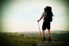 Tall backpacker with poles in hand. Sunny summer evenng in rocky mountains. Hiker with big backpack stand on rocky view point abov Royalty Free Stock Photo
