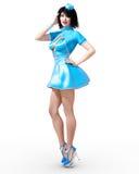 Tall beautiful woman stewardess. stock image