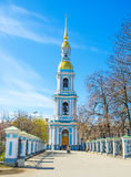 The tall bell tower of St Nicholas Cathedral in St Petersburg Stock Photos