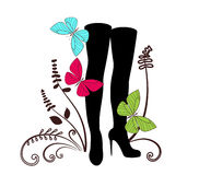 Tall black fashion boots Royalty Free Stock Photo