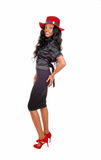 Tall black woman standing in profile. Stock Photos