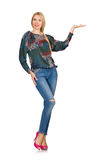 The tall blond hair model posing in blue jeans isolated on white Stock Photography