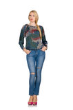 Tall blond hair model posing in blue jeans isolated on white Stock Photography
