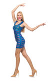 The tall blond woman in mini blue dress isolated on white Royalty Free Stock Photos