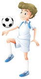 A tall boy playing soccer Stock Image