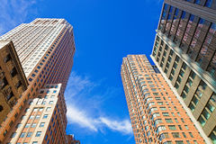 Tall brick and glass skyscrapers in NYC Royalty Free Stock Photos