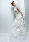 Tall Bride with White Wedding Dress stock images
