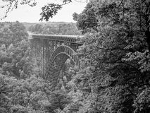 Tall Bridge over the New River Gorge, WV. Black-and-white image off the arched bridge over the New River Gorge in West Virginia Stock Image