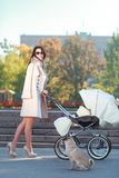 High brunette on heels walking with baby and dog in park. Royalty Free Stock Photography