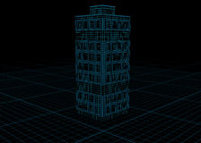 Tall Building Dark Blueprint. Building blueprint design model, over black, 3d illustration, horizontal Stock Images