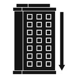 Tall building and down arrow icon, simple style Royalty Free Stock Images