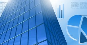 Tall building with economic finance charts background. Digital composite of Tall building with economic finance charts background Stock Photography