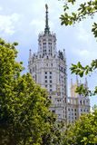 Tall building. Stalin skyscraper on Kotelnicheskaya embankment, view from the Park royalty free stock image