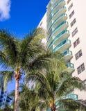 Tall building at tropical resort Royalty Free Stock Photos