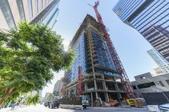 Tall building under construction Stock Images
