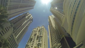 Tall buildings in a big city stock video