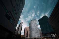 Tall buildings in the business district in Tokyo stock images