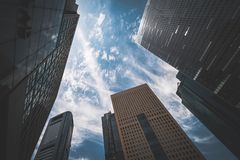 Tall buildings in the business district in Tokyo royalty free stock images
