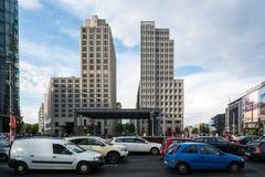Tall buildings at busy street Potzdamer Platz Stock Photo