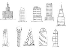 Tall buildings coloring book vector royalty free illustration